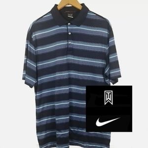Nike Tiger Woods Striped Polo Golf Shirt Large